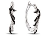Enchanted Disney Villains Maleficent Thorn Hoop Earrings White Diamond Rhodium Over Silver 0.10ctw