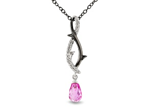 Enchanted Disney Villains Maleficent Pendant Pink Lab Sapphire & Diamond Rhodium Over Silver 0.56ctw