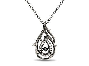 Enchanted Disney Villains Maleficent Pendant White & Black Diamond Black Rhodium Over Silver 0.10ctw