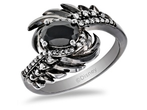 Enchanted Disney Villains Maleficent Ring Black Onyx & Diamond Black Rhodium Over Silver 0.85ctw