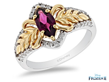 Picture of Enchanted Disney Anna Ring Rhodolite Garnet & Diamond Rhodium & 14k Yellow Gold Over Silver 1.20ctw