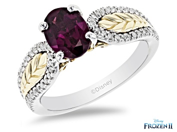 Picture of Enchanted Disney Anna Ring Oval Rhodolite Garnet & White Diamond 10k White & Yellow Gold 1.70ctw
