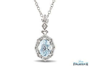 Enchanted Disney Elsa Halo Pendant Sky Blue Topaz And White Diamond Rhodium Over Silver 1.00ctw