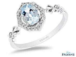 Enchanted Disney Elsa Halo Ring Sky Blue Topaz & White Diamond Rhodium Over Silver 1.00ctw