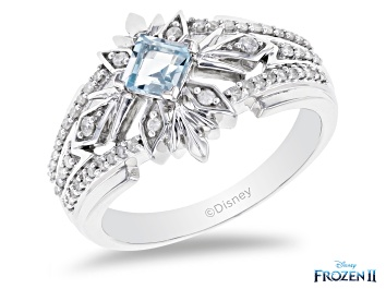 Picture of Enchanted Disney Elsa Snowflake Band Ring Sky Blue Topaz & White Diamond Rhodium Over Silver 0.60ctw