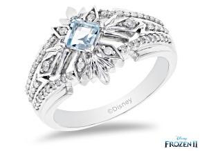 Enchanted Disney Elsa Snowflake Band Ring Sky Blue Topaz & White Diamond Rhodium Over Silver 0.60ctw