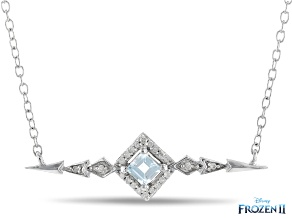 Enchanted Disney Elsa Bar Necklace Sky Blue Topaz & White Diamond Rhodium Over Silver 0.24ctw