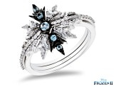 Enchanted Disney Elsa Set of 3 Stackable Rings Diamond & Sky Blue Topaz Rhodium Over Silver .29ctw