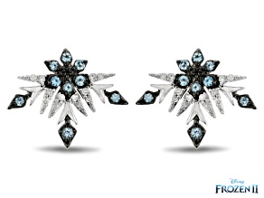 Enchanted Disney Elsa Stud Earrings Sky Blue Topaz & White Diamond Rhodium Over Silver 0.10ctw