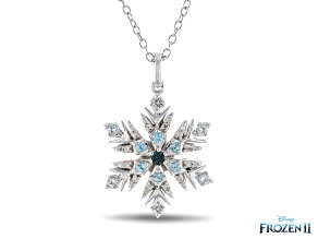 Enchanted Disney Elsa Pendant Multicolor Blue Topaz & White Diamond Rhodium Over Silver 0.16ctw