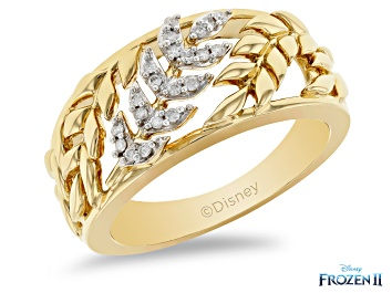 Picture of Enchanted Disney Anna Band Ring White Diamond 14k Yellow Gold Over Silver 0.10ctw