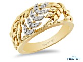 Enchanted Disney Anna Band Ring White Diamond 14k Yellow Gold Over Silver 0.10ctw