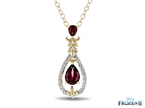 Enchanted Disney Anna Pendant Rhodolite Garnet & White Diamond 10k Yellow Gold 1.10ctw