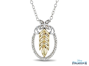 Picture of Enchanted Disney Anna Pendant White Diamond Rhodium And 14k Yellow Gold Over Silver 0.10ctw