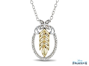 Enchanted Disney Anna Pendant White Diamond Rhodium And 14k Yellow Gold Over Silver 0.10ctw