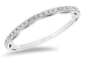 Enchanted Disney Cinderella Band Ring White Diamond 14k White Gold 0.15ctw