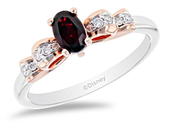 Picture of Enchanted Disney Snow White Bow Ring Garnet & White Diamond 10k Gold & Rhodium Over Silver 0.30ctw