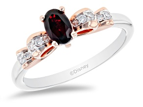 Enchanted Disney Snow White Bow Ring Garnet & White Diamond 10k Gold & Rhodium Over Silver 0.30ctw