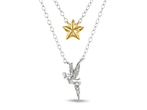 Enchanted Disney Tinker Bell Multi-Row Necklace Diamond Accent Rhodium & 14k Yellow Gold Over Silver