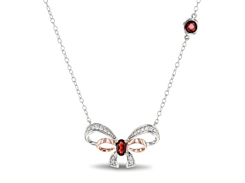 Picture of Enchanted Disney Snow White Necklace Garnet & Diamond 10k Rose Gold & Rhodium Over Silver 0.70ctw