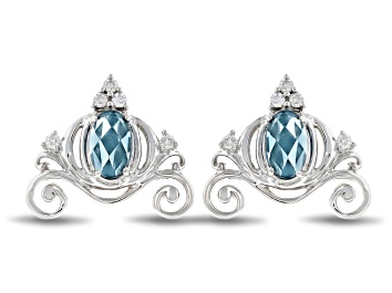 Picture of Enchanted Disney Cinderella Carriage Earrings London Blue Topaz & Diamond Rhodium Over Silver .33ctw
