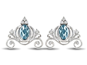 Enchanted Disney Cinderella Carriage Earrings London Blue Topaz & Diamond Rhodium Over Silver .33ctw