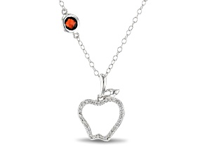 Enchanted Disney Snow White Apple Pendant White Diamond & Red Garnet Rhodium Over Silver 0.39ctw