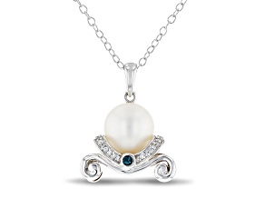 Enchanted Disney Cinderella Pendant Cultured Freshwater Pearl/Diamond/Blue Topaz Rhodium Over Silver