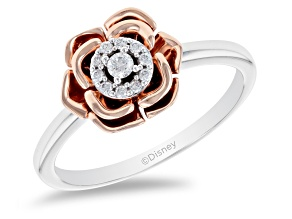 Enchanted Disney Belle Rose Ring White Diamond 14k White And Rose Gold 0.10ctw