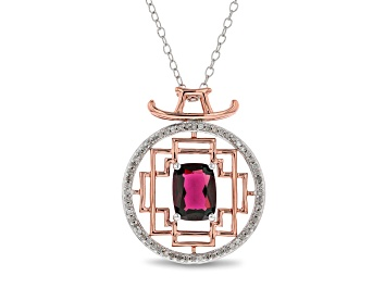 Picture of Enchanted Disney Mulan Pendant Rhodolite Garnet And White Diamond 10k White And Rose Gold 1.67ctw