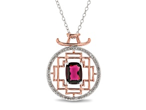 Enchanted Disney Mulan Pendant Rhodolite Garnet And White Diamond 10k White And Rose Gold 1.67ctw