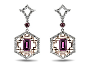 Picture of Enchanted Disney Mulan Earrings Rhodolite Garnet & White Diamond 10k White & Rose Gold 1.10ctw