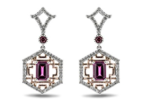 Enchanted Disney Mulan Earrings Rhodolite Garnet & White Diamond 10k White & Rose Gold 1.10ctw