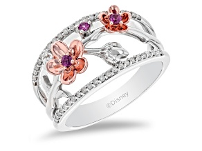 Enchanted Disney Mulan Ring Rhodolite Garnet & Diamond Rhodium & 14k Rose Gold Over Silver 0.32ctw