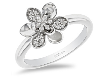 Picture of Enchanted Disney Mulan Plum Blossom Ring White Diamond Rhodium Over Silver 0.10ctw