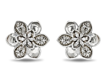 Picture of Enchanted Disney Mulan Plum Blossom Stud Earrings White Diamond Rhodium Over Silver 0.17ctw