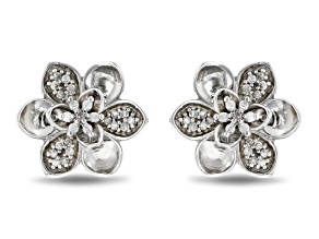 Enchanted Disney Mulan Plum Blossom Stud Earrings White Diamond Rhodium Over Silver 0.17ctw