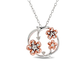 Enchanted Disney Mulan Plum Blossom Pendant White Diamond Rhodium & 14k Rose Gold Over Silver .10ctw
