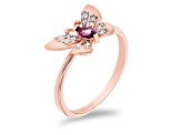 Enchanted Disney Mulan Butterfly Ring Rhodolite Garnet And Diamond 14k Rose Gold Over Silver 0.29ctw