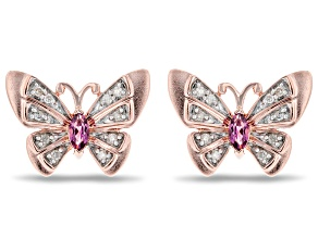 Enchanted Disney Mulan Butterfly Earrings Rhodolite Garnet & Diamond 14k Gold Over Silver 0.30ctw