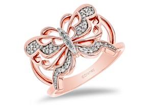 Enchanted Disney Mulan Butterfly Open Design Ring White Diamond 14k Rose Gold Over Silver 0.15ctw