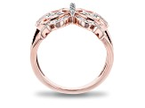 Enchanted Disney Mulan Butterfly Open Design Ring White Diamond 14k Rose Gold Over Silver 0.15ctw
