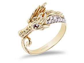 Enchanted Disney Mulan Dragon Ring Diamond And Ruby 14k Yellow Gold Over Silver 0.26ctw