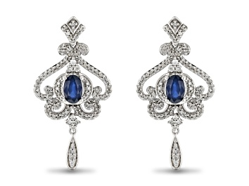 Picture of Enchanted Disney Cinderella Dangle Earrings Blue Sapphire And White Diamond 10k White Gold 1.60ctw