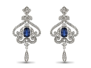 Enchanted Disney Cinderella Dangle Earrings Blue Sapphire And White Diamond 10k White Gold 1.60ctw