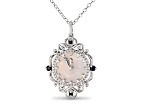 Enchanted Disney Cinderella Pendant Mother-Of-Pearl, Sapphire & Diamond Rhodium Over Silver 0.20ctw