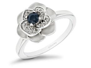 Enchanted Disney Cinderella Ring Blue Sapphire And White Diamond Rhodium Over Silver 0.35ctw