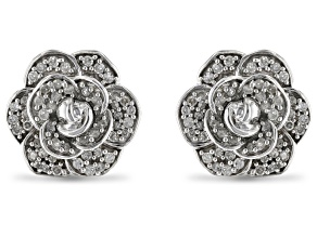 Enchanted Disney Cinderella Flower Stud Earrings White Diamond Rhodium Over Silver 0.20ctw