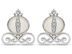 Enchanted Disney Cinderella Carriage Earrings Mother-of-Pearl & Diamond Rhodium Over Silver 0.10ctw