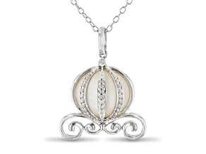 Enchanted Disney Cinderella Carriage Pendant Mother-of-Pearl & Diamond Rhodium Over Silver 0.10ctw